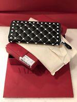 Valentino Womens  Free Rockstud Spike Leather Zip Around Wallet, Black