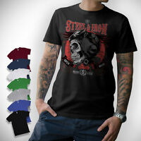 Motorcycle T-Shirt Oldschool Motorrad Biker Chopper Bobber Skull Geschenk Kult