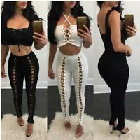 Sexy Women's Metal Eyelets Lace Up Leggings Punk Pants Long Tight Trousers