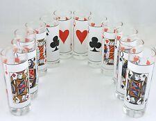 VINTAGE TALL SHOT GLASS SET 12 PLAYING CARDS PRINTED BARWARE GLASSWARE