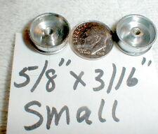 "1pr Front Narrow Chrome Wheels by Strombecker 5/8""X3/16"" Nos 5:40 Thread #small"