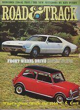 Road & Track magazine 11/1965 featuring Mini Cooper road test, Mercedes, Ruxton