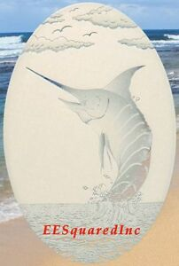 Marlin Window Decal for Glass - OVAL 15x23 Static Cling Tropical Fishing Decor