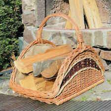 Feuerholzkorb XL Kamin Holz Korb aus Weideholzgeflecht mit Jute Weidenkorb Hell