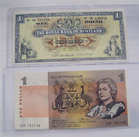 1966 Royal Bank of Scotland 1 pound, 1979 Australia 1 dollar P#325b P#42.c XF++