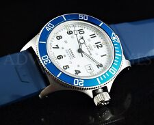 Glycine Combat Sub Swiss Auto White Dial Blue Bezel & Rubber Strap Watch 3863