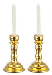 Dolls House Brass Candlesticks With Candles 1:12 Miniature Accessory