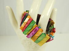 Rainbow Color Lucite Stretch Wide Bracelet Jewelry Spring Summer Beach Hipster