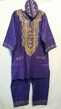 African Men's Pant suit Brocade Print Traditional clothing One Size Purple Gold