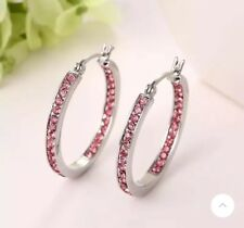 Illuminating white gold plated pink cubic zirconia 1 inch hoop earrings