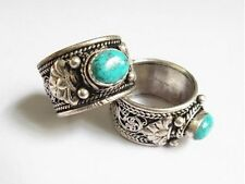 Half Inch Wide Solid Adjustable Tibetan Filigree Turquoise Gemstone Dorje Ring