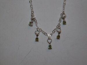 Demantoid Garnet 5 Stone Necklace, Sterling Silver