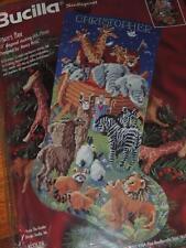 """1996 BUCILLA NOAH'S ARK NEEDLEPOINT STOCKING KIT 60737  ROSSI 18"""" ARC"""