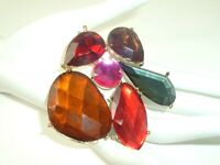 Vtg Flashy Brooch Pin Faceted Plastic Gold Tone Big Colorful Gaudy Statement