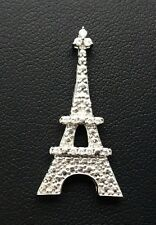 Sterling Silver 925 Round CZ Accent Dotted Eiffel Tower Paris France Pendant