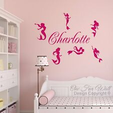 Personalized Name & 6 Mermaids Girl's Room Vinyl Wall Decal Sticker Décor