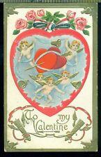 CHERUBS HEARTS ROSES RIBBON GOLD Vintage TO MY VALENTINE 1908 Postcard