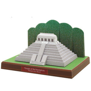 3D Paper Model Temple of the Inscriptions Mexico Architecture Puzzle DIY Kit Toy
