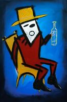 Original Painting On Ready Hang Canvas 24x36 inch Blue Abstract Portrait Drinker