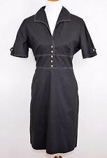 TAHARI Black Short Sleeve Shirt Dress - Cotton Sheath Knee Length - WOMEN'S 12 P