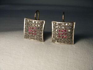 Fabulous Antique 14K Pink Gold Rose Cut Diamond Ruby Dangle Earrings
