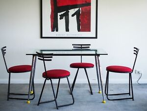 Set of 6 beautiful 1980s sculptural chairs post modern MCM contemporary design
