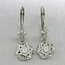1930s Antique Art Deco 18k Solid White Gold .20ctw Diamond Hanging Earrings