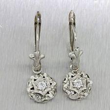 1930s Antique Art Deco 18k Solid White Gold .20ctw Diamond Hanging Earrings