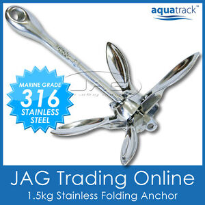 MARINE 316 STAINLESS STEEL FOLDING GRAPNEL ANCHOR 1.5KG-Kayak/Boat/Jet Ski/Canoe