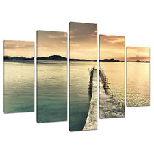 Set of Five Panel Teal Canvas Wall Art Pictures Landscapes Print 5108