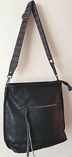 Women's Ladies Black Faux Leather Medium Sized Crossbody Messenger Handbag Bag