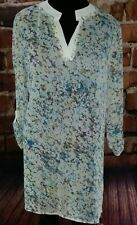 Blue white tunic size XL Long 3/4 sleeves semi sheer dress coverup lightweight