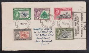 Gilbert & Ellice Islands Censored Cover to Mount Albert  1944 Fanning Island CDS