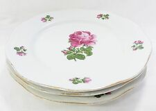 Vintage bavaria dinner plates pink moss rose scalloped emboss rim gold trim