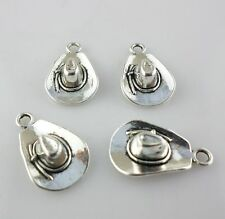 10pcs Alloy Silver Cowboy hat Charms Pendants Findings 6*13*21mm
