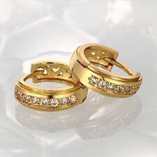 18K GOLD Plated Huggie Small Half Band Zircon Diamanté /Crystal Hoop Earrings-Uk