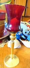Partylite Brass Candle Holder with Homco Ruby Glass Votive Cup