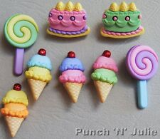 PASTEL CAKES - Birthday Party Ice Cream Lolly Novelty Dress It Up Craft Buttons