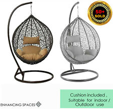 More details for rattan garden hanging egg chair egg swing chair relaxing patio hammock w cushion