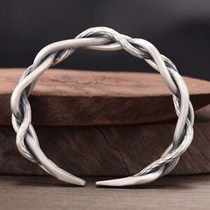 Men Sterling Silver Vintage Open Bangle Twisted Cuff Bracelet