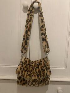 Y2k 2000s Fluffy Leopard Print Crossbody Soft Shoulder Shoulder Bag Handbag