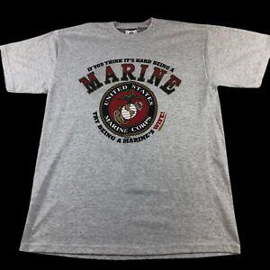 Vtg 90s T Shirt United States Marine Corps Wife 1994 USMC Large Heather Gray