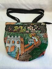 VINTAGE BEADED PURSE AND STRAPS CROSS BODY WALL OF CHINA DESIGN BIG, USED RARE