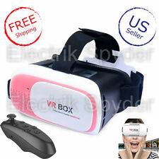 Pink Virtual Reality VR Headset 2nd Gen 3D with black bluetooth remote-US Seller