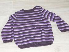5240 - Pull fait main 5 ans rayé violet