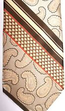 "Bruno Conte Mens Polyester Tie 58.5"" X 4"" Multi-Color Paisley & American Stripes"