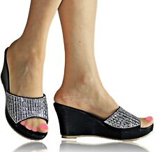 Womens Ladies Wedge Heel Diamante Party Wedding Shoes Sandals Mules Size CT-22