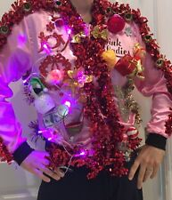 Ugly Tacky Christmas Sweater Jacket  Elf Lights Up! Vintage Pink Ladies Small