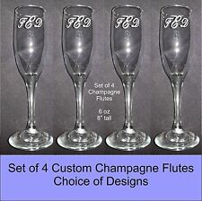 Personalized Custom Wedding Champagne Flute Glasses  SET OF 4, CHOICE OF DESIGNS