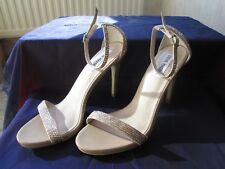 STEVE MADDEN GOLD AND SILVER DIAMANTE STILETTO SANDALS WITH ANKLE STRAPS SIZE 6